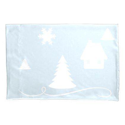 Winter Wonderland Blue Beige Pillow Case - winter gifts style special unique gift ideas