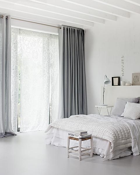 White bedroom with grey curtains bedroom décor, beds, headboards, four poster, canopy,