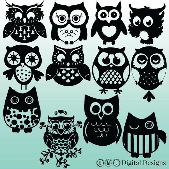 12 Owl Silhouette Images Digital Clipart by OMGDIGITALDESIGNS
