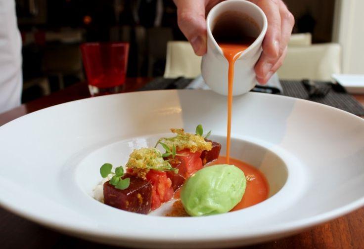 Tomato gazpacho with tuna cube marinated, stracciatella and cucumber ice cream
