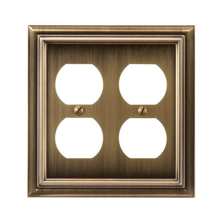 amerelle continental 2 duplex wall plate brushed brass