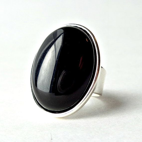 Black Onyx Ring Gemstone Oval Statement Ring Adjustable by Pilboxx