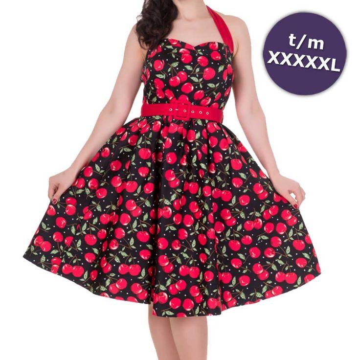 Sophie swing jurk met halternek, kersen print en rode riem zwart/rood – Vintage 50's Rockabilly retro