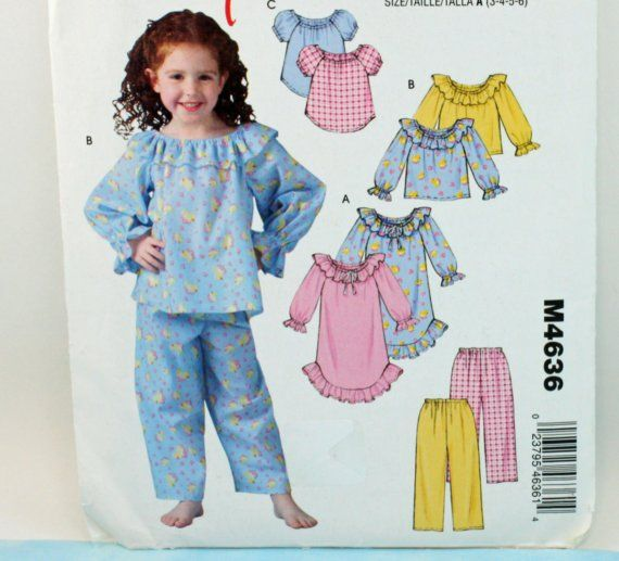 2004 Easy Stitch'n and Save, by McCall's M4636, Child's Size 3, 4, 5 and 6, Nightgown, Tops and Pants Pattern, UNCUT