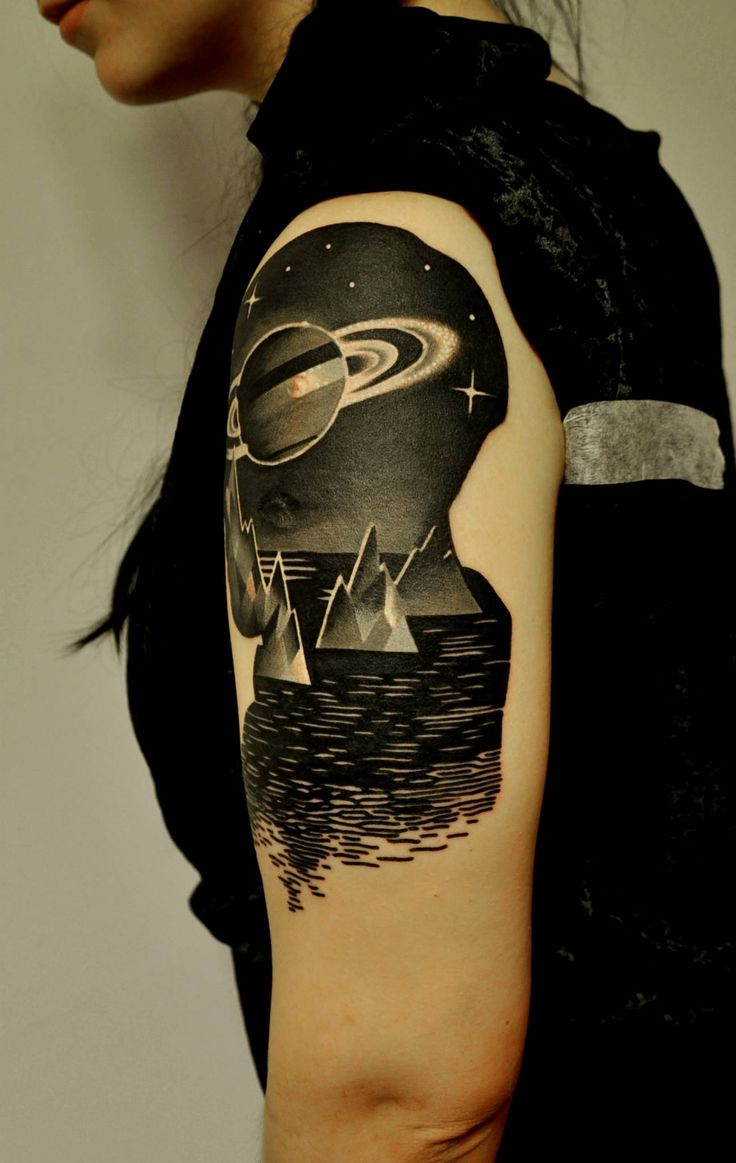 80 crazy and amazing tattoo designs for men and women desiznworld - Marcin Aleksander Surowiec Tattoo Space Galaxy New Neo Black Mountains Planet Arm Amazing