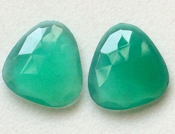 Green Chalcedony Faceted Fancy Shape 2 pcs by gemsforjewels