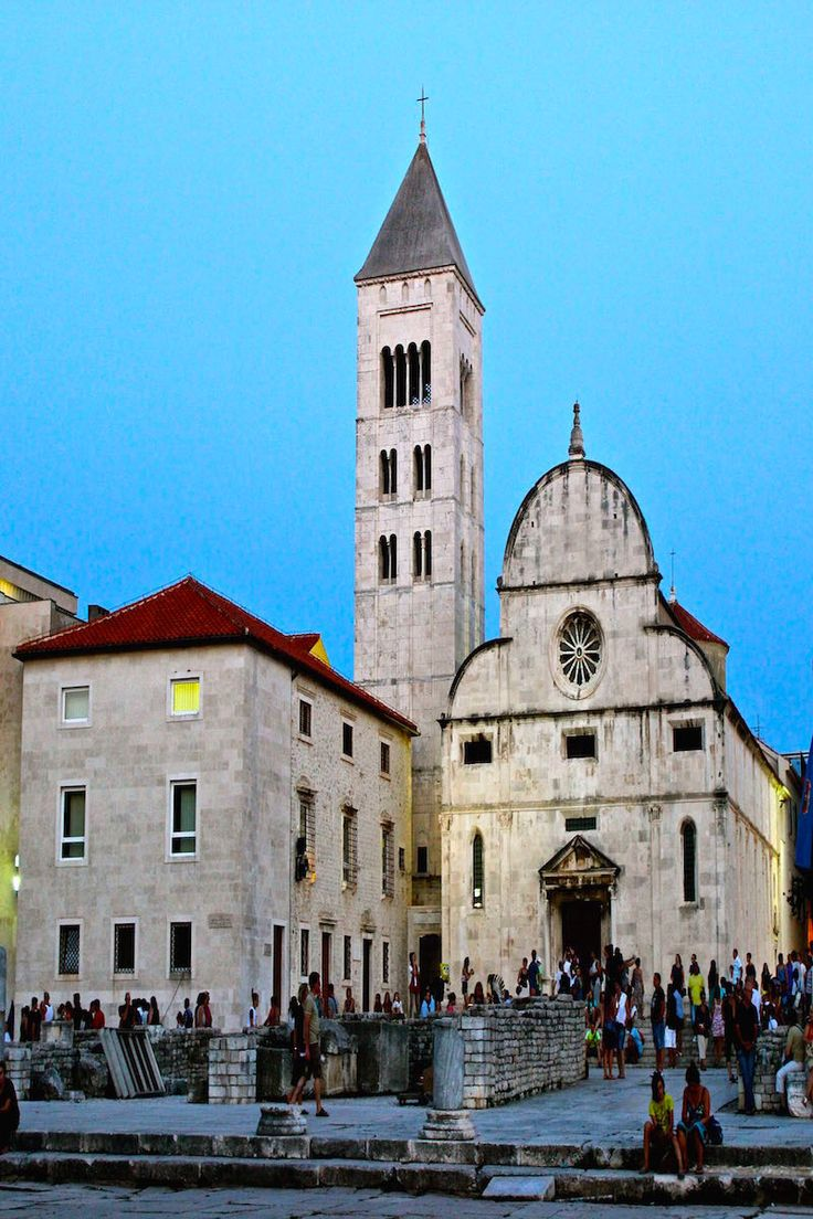 Layers of history at the Roman Forum in Zadar Croatia with Venetian churches built on top.