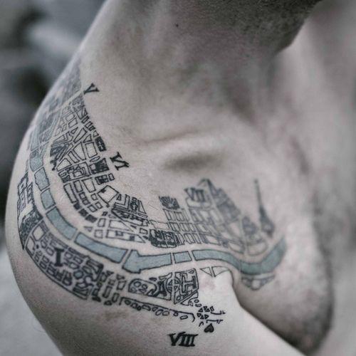 Paris in 1910 map tattoo.