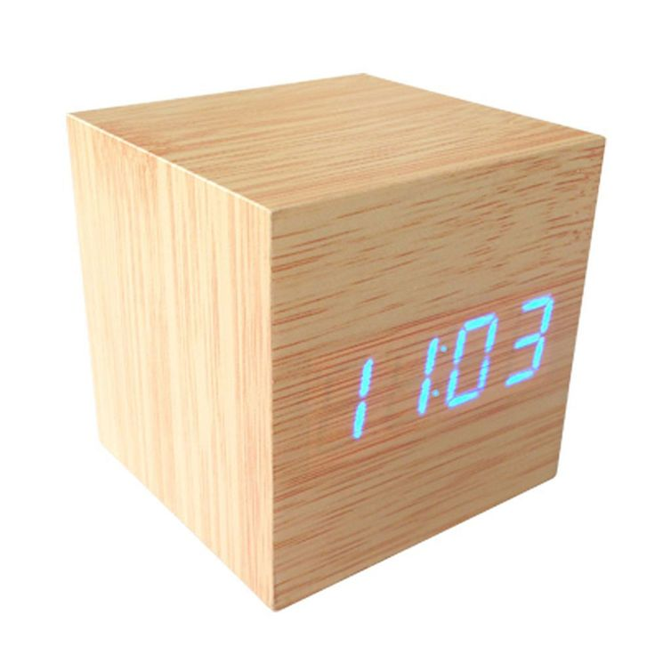 1 pcs  Modern Wood style Digital LED Desk Alarm Clock Thermometer Time Date hot sale Brand New