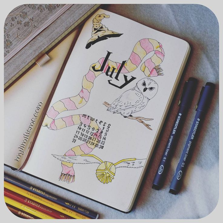 Bullet journal monthly spread. Harry Potter themed. :D