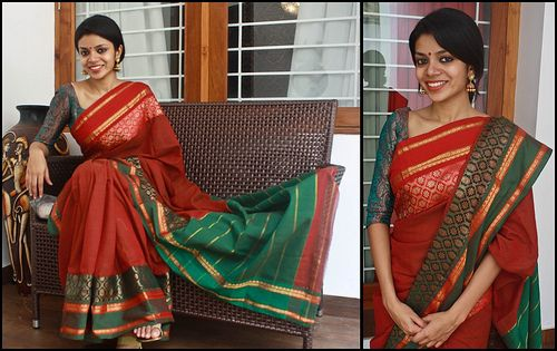 6 | Rs 3500 Traditional Brick red and green cotton saree wit… | Flickr