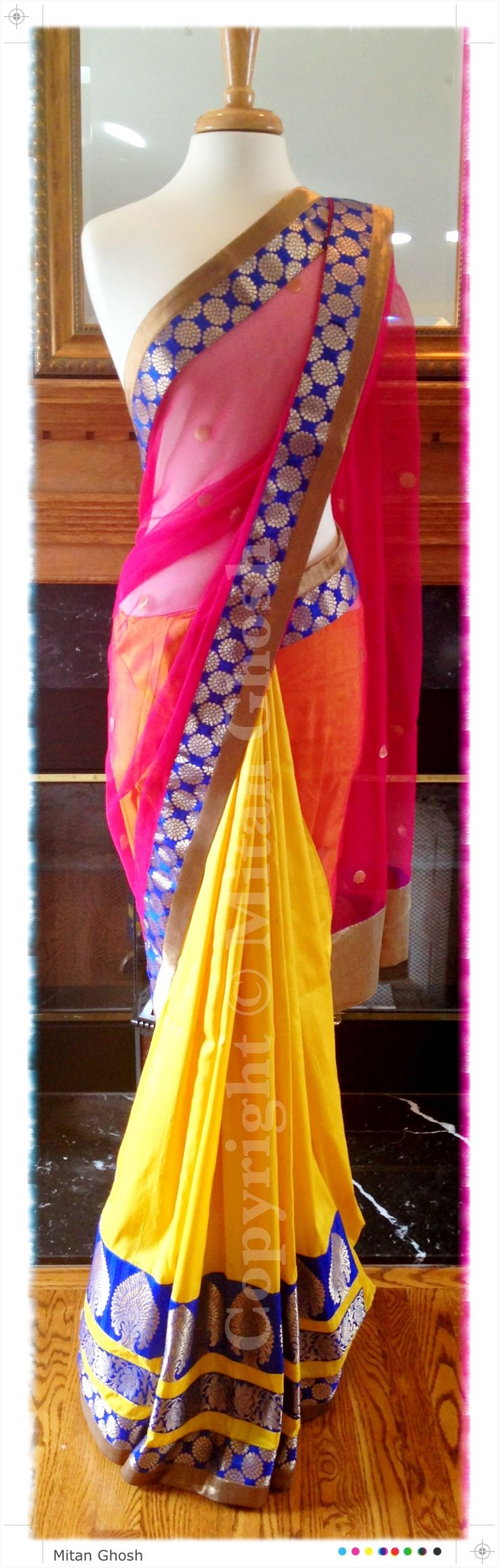 Banarsi net and raw silk saree.