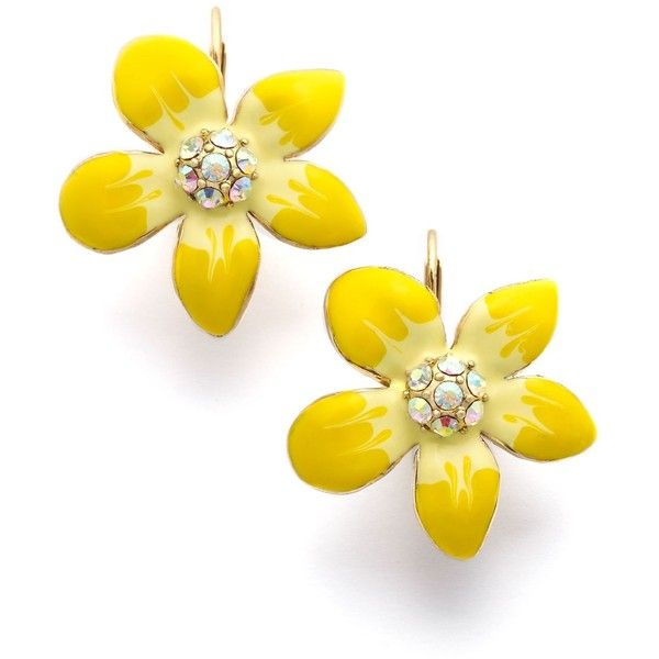 Betsey Johnson Earrings, Yellow Flower Drop
