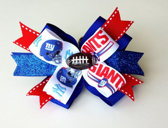 NEW YORK GIANTS Hair Bow. Giants Football hair bow. by pixieclip, $7.95 love it just JETS ;)