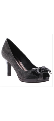 Houndstooth Posy Peep Toe Heel With Leather Bow