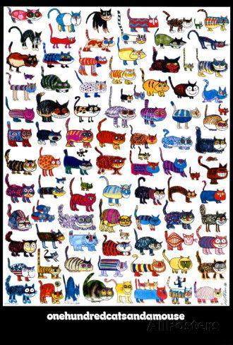100 gatti e un topo Stampa d'arte
