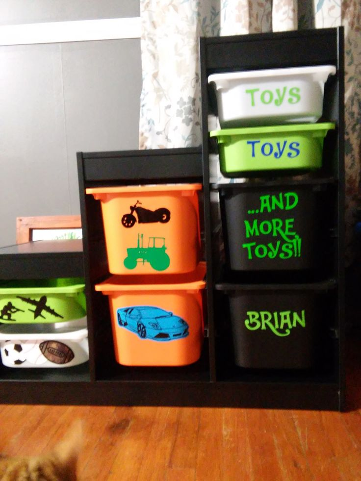Ikea Trofast storage bins and vinyl decals I cut. One of my favorite projects!!!
