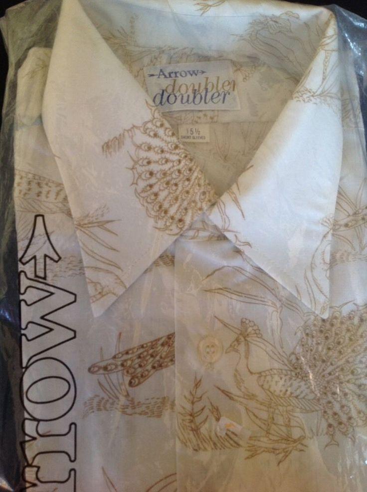 Vtg NEW Arrow Doubler Peacock Shirt 15-1/2 Short Sleeve Ivory Rockabilly Party