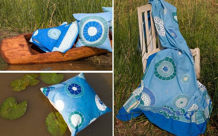 Hand painted 100% cotton cushions, table runners, throws and bedcovers - quill design