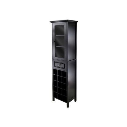 Winsome Burgundy 15 Bottle Wine Cabinet with Glass Door - Wine Furniture at Hayneedle