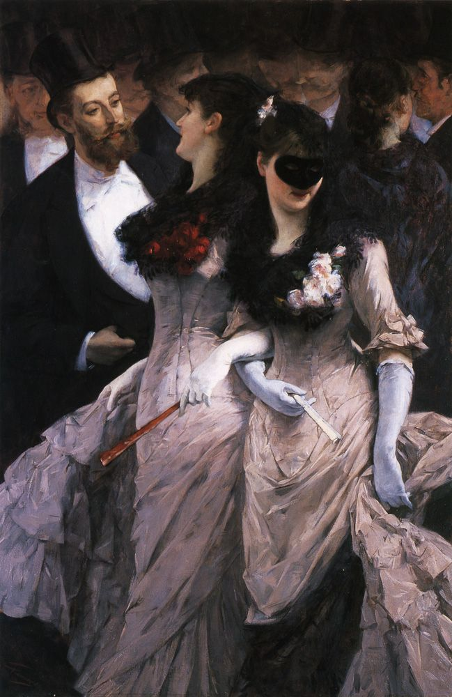 Le bal masqué, detail (c.1880). Charles Hermans (Belgian, 1839-1924). Oil on canvas. Le bal masqué portrays the exuberant atmosphere of Parisian balls in the late 19th Century. It was heralded as a boisterous and unrestrained rendering of the Opera Ball. Hermans focuses on the sexual undertones, the flirtation between the young men dressed in white tie and the richly costumed women.