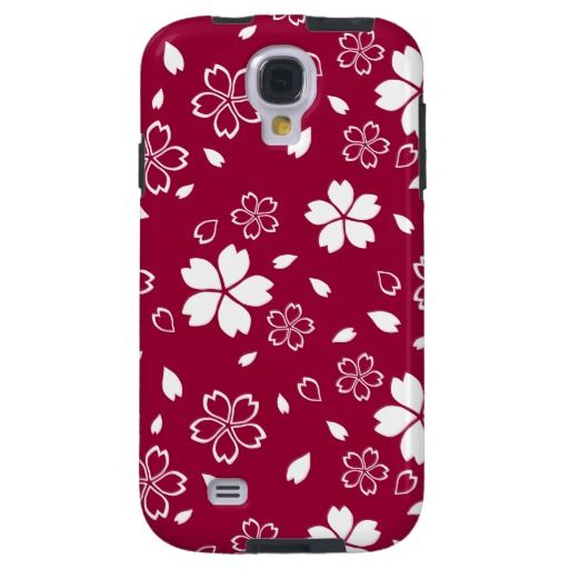 SOLD! To a customer in CA. Sakura Flowers Pattern Red Galaxy S4 Vibe Case #sakura #floralpattern