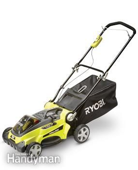 Photo of Ryobi RY40100 16 in. cordless lawn mower.