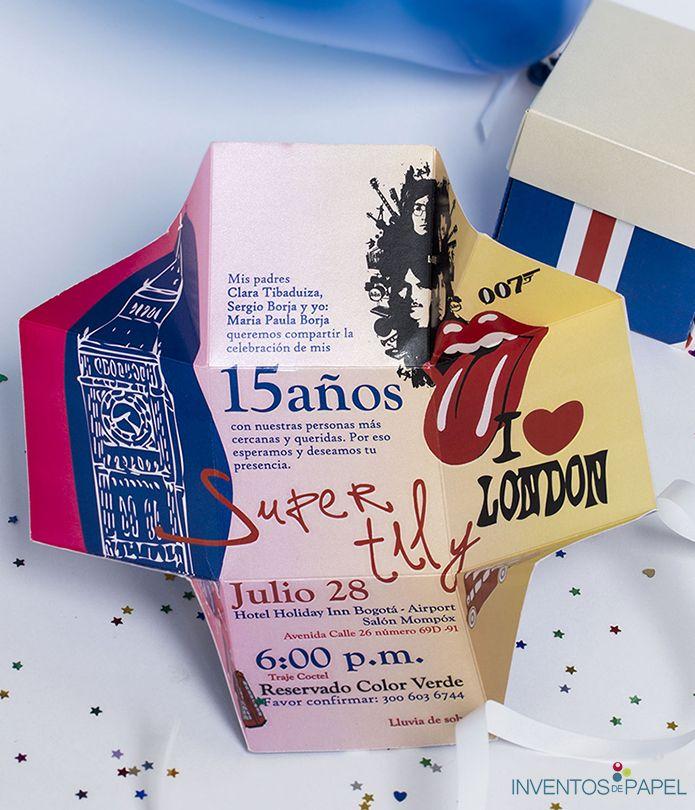 Tarjeta de Invitación Londres. Beatles, Rolling Stones y más www.inventosdepapel.