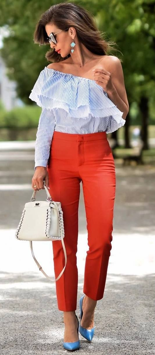 summer office style obsession : one shoulder top + bag + red pants + heels