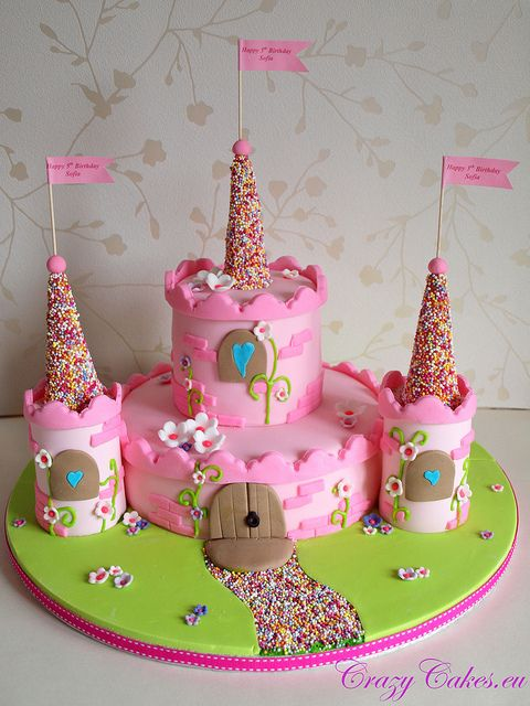 "Super cute princess castle cake.  @Sarah Chintomby Chintomby Chintomby Chintomby Chintomby Scruggs This is what I thought Charley was going to make instead of his ""lego land"" castle cake"