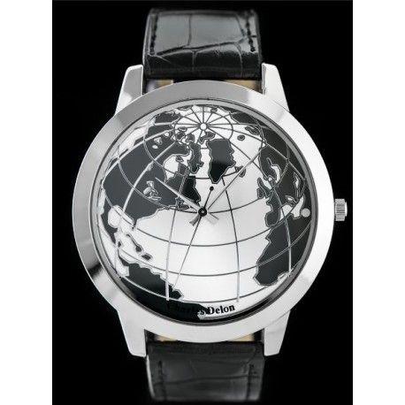 Podaruj mu cały świat! Zegarek męski z tarczą w postaci mapy świata.