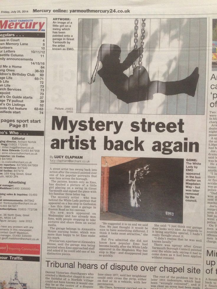 Press coverage - Great Yarmouth Mercury news paper. Artist: Emo Raphiel Astoria