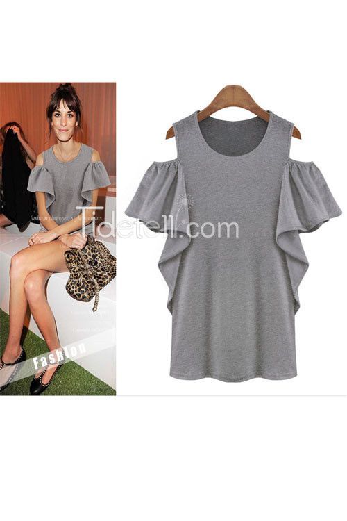 Off Shoulder T Shirt with Sleeves