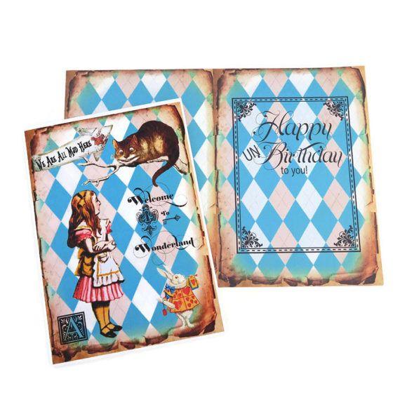 Alice in Wonderland Birthday Card Cheshire by EnchantedQuilling