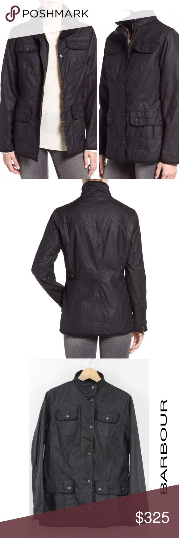 "Barbour Waxed Cotton Utility Jacket Coat Black N53 Barbour Women's Waxed Cotton Utility Jacket Black Front zip/snap closure, Cotton lining, 100% waxed cotton, Spot clean Retails $399 Size: 10 US 40 EU 14 UK Shoulder: 17""  Sleeves: 24.5""  Armpit to Armpit: 22""  Waist: 18.25""  Length: 28""  Color: Black Pattern: Solid Material: 100% waxed cotton Country: Moldova Style #: 761650 Care: Spot Clean WT: 2.01 CSKU: N53; 80 Jacket on model for styling/fit reference only. Hanging Item for Sale/Listed…"