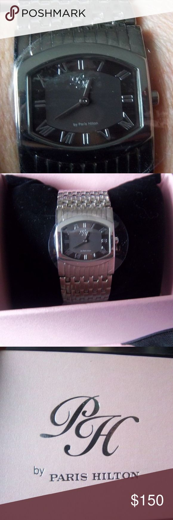 """PARIS HILTON WATCH, SILVERTONE, WIDE, NEW BEAUTIFULLY GIFT BOXED FOR YOU TO GIVE SOMEONE OR YOURSELF!! BRAND NEW STAINLESS, DOUBLE DEPLOYMENT BAND MEASURES 1 1/4"""" WIDE WILL FIT UP TO A 9"""" WRIST. DAKR CHOCOLATE FACE. Paris Hilton Accessories Watches"""