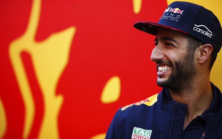 Download wallpapers Daniel Ricciardo, 4k, Red Bull Racing, smile, F1, Formula 1, Formula One