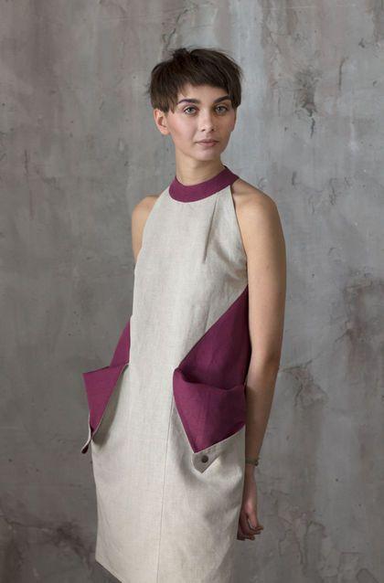 """Linen dress / Платья ручной работы. Заказать Платье с карманами в стиле """"color blocking"""" / Летнее платье. ExlibrisClothing. Ярмарка Мастеров."""