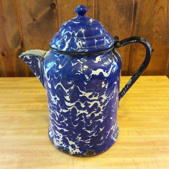 Old Blue Spongeware 9 Cup Enamel Coffee Pot From by oldstuffbrad