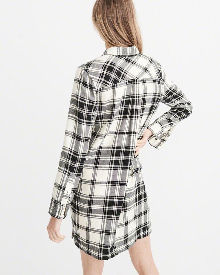 A&F Women's Half-Zip Plaid Shirt Dress in Cream/White - Size XS Petite