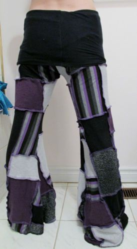 Patchwork Pants DIY Purple Black Gray Yoga Pixie Hippie Hooping Clothes Gypsy | eBay