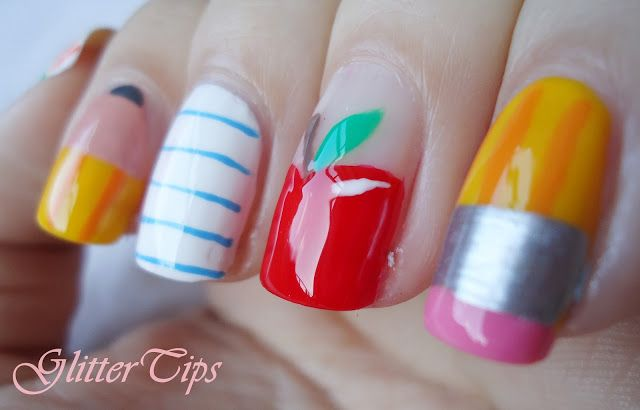 Back To School Nails-k if our teacher had these nails she would get an automatic cool label!