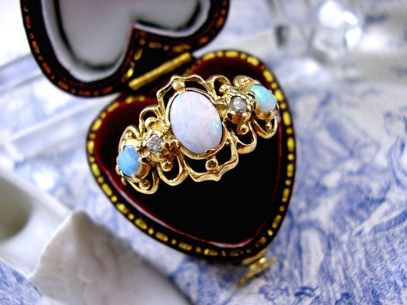 Fire Opal Ring 9ct Gold Diamond Victorian Gothic Design
