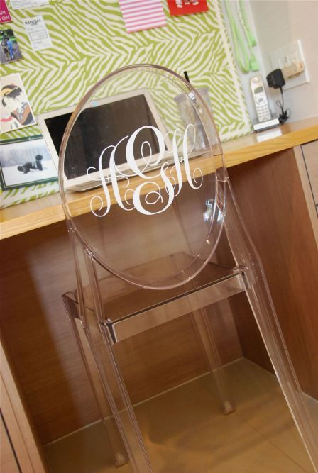 Madly in love with this monogrammed ghost chair!