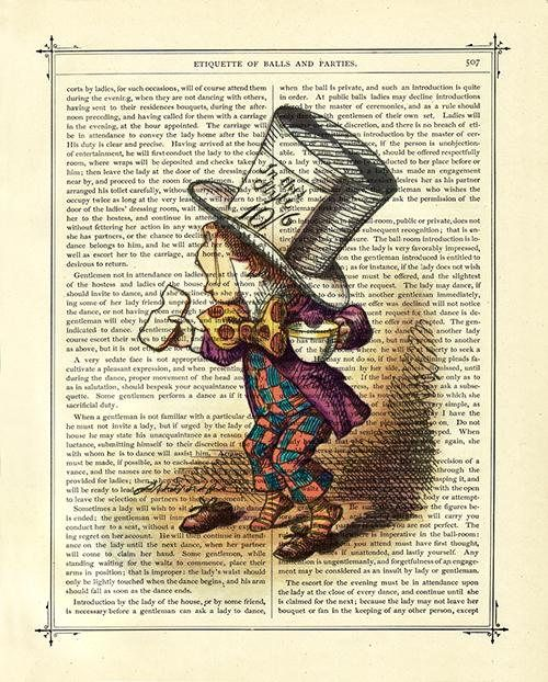 *Alice in Wonderland the Mad Hatter Teacup - Steampunk Color Art Print on Vintage Victorian Book Page*  This vintage illustration is printed on an antique book page from an old Victorian book. All pages have a beautiful golden patina and some pages may have small age spots that add