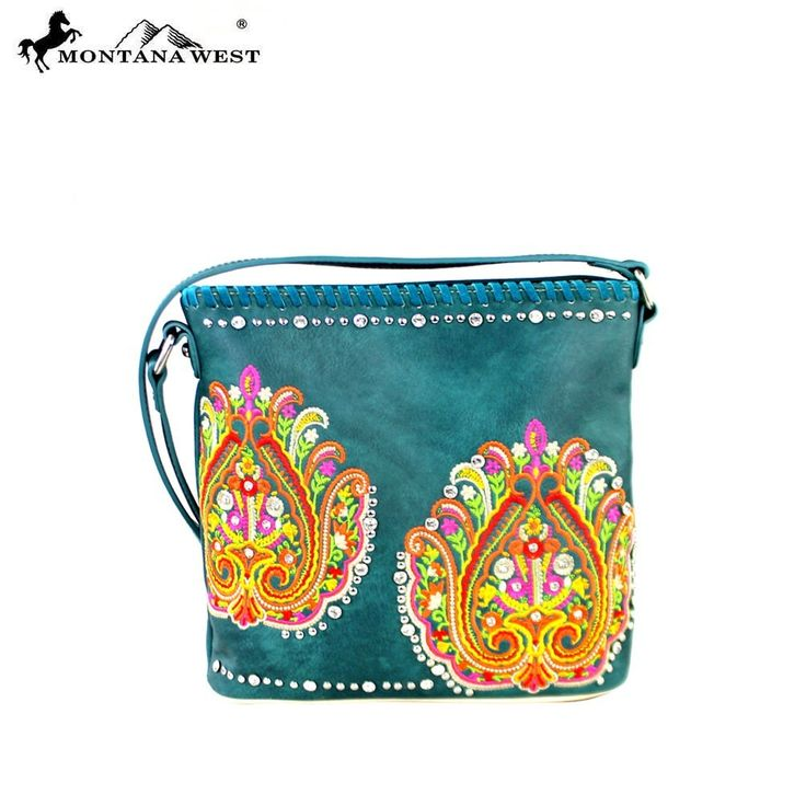 MW363-8287 Montana West Embroidered Collection Crossbody Bag-Turquoise