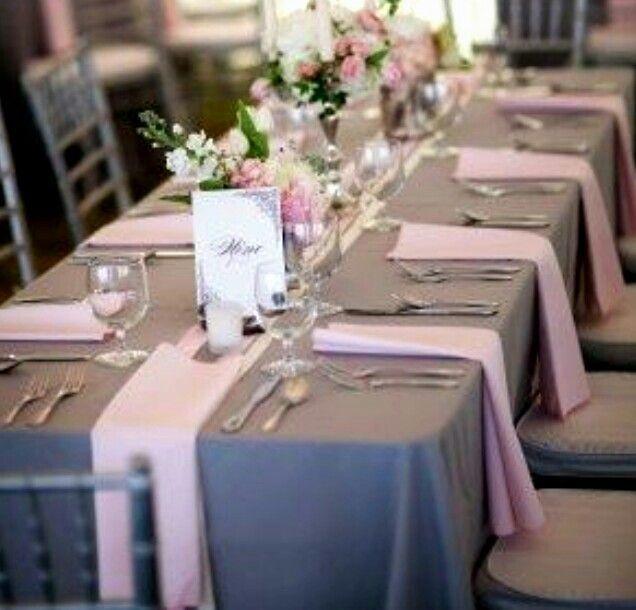 Vintage Wedding Decoration Ideas: Pink & Grey Table Setting ♥