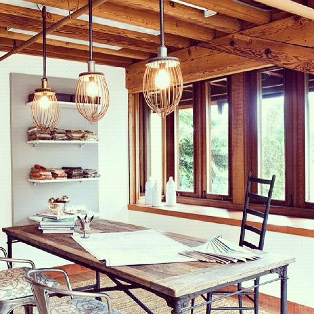 Modern Rustic Work Room I Love The Feel Of This Room Nice Woodwork And Lighting Fixtures