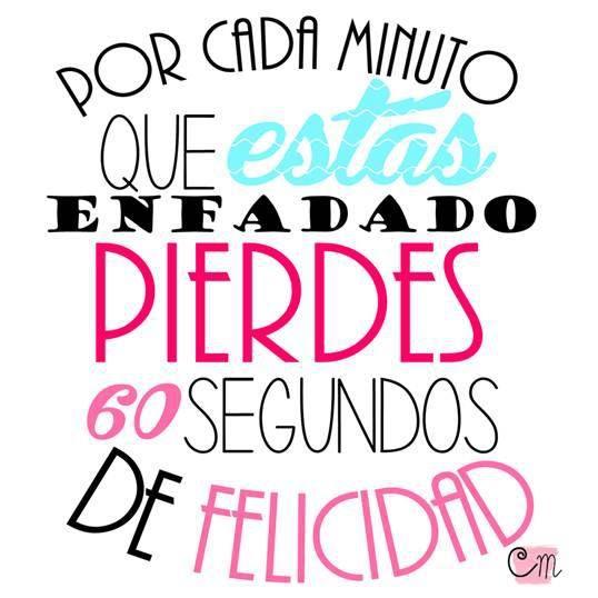 Por cada minuto que estes enfadad@...     ❥Teresa Restegui http://www.pinterest.com/teretegui/ ❥