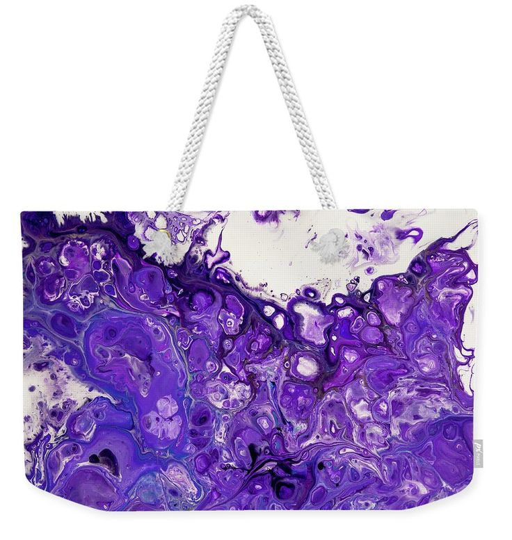 "Sacred Purple Flows 8. Abstract Fluid Acrylic Pour Weekender Tote Bag (24"" x 16"") by Jenny Rainbow.  The tote bag includes cotton rope handle for easy carrying on your shoulder.  All totes are available for worldwide shipping and include a money-back guarantee."
